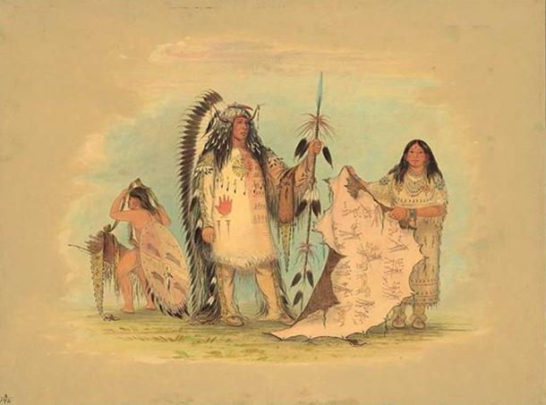 Mandan War Chief with His Favorite Wife (Catlin 1861-69)