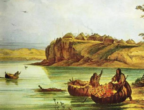 Mandan bull boats and lodges. (
