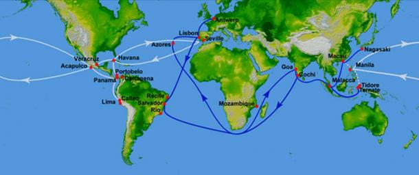White represents the route of the Manila Galleons in the Pacific and the flota in the Atlantic. (Blue represents Portuguese routes.)