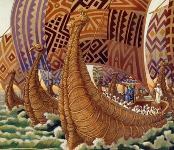 Mansa Abubakari II voyaging into the Atlantic Ocean.