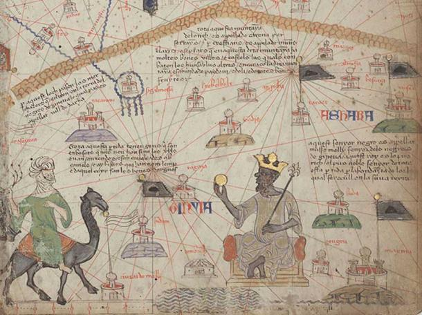 Mansa Musa or the Mali Empire, is shown sitting on a throne and holding a gold coin. (Aa77zz / Public Domain)