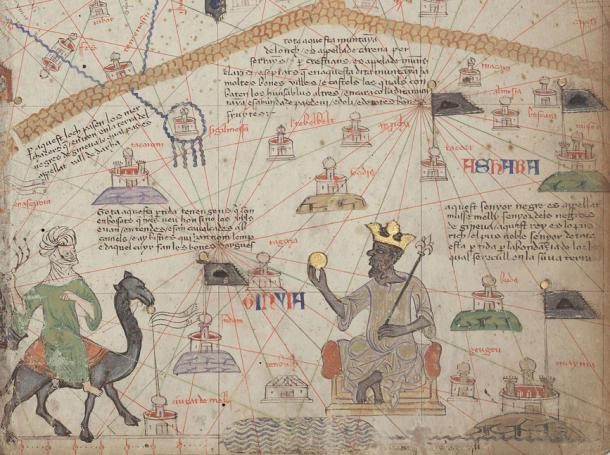 Mansa Musa depicted holding a gold nugget, from the 1375 Catalan Atlas