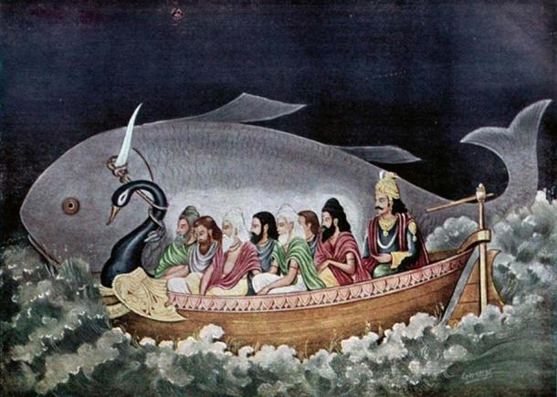 Manu and the seven sages at the time of Deluge.