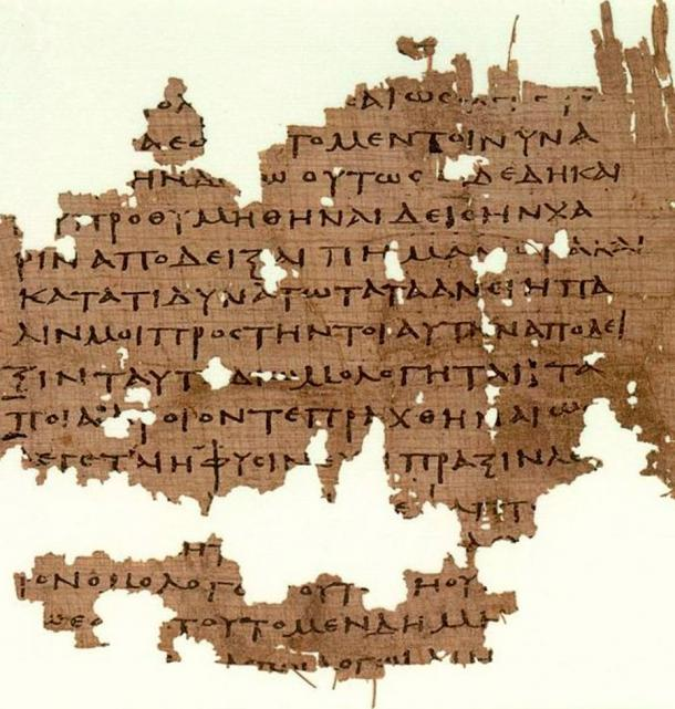 Manuscript containing fragments of Plato's Republic