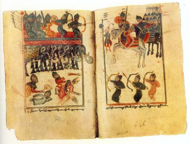 Manuscript showing war elephants with archers and soldiers on their backs. The Battle of Avarayr, Sharaknots, 1482