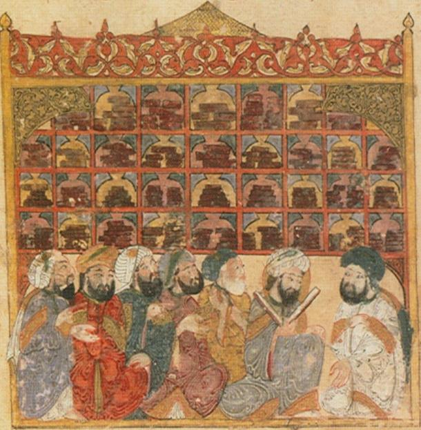 Manuscript with depiction by Yahya ibn Vaseti found in the Maqama of Hariri located at the Bibliotheque Nationale de France. Image depicts a library with pupils in it.