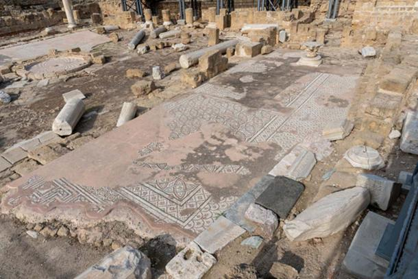 Many ancient mosaics remain preserved on the original site