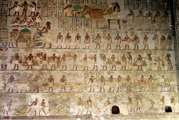 Many of Khnumhotep's relatives. The sitting woman in the top-middle is his wife Khety.