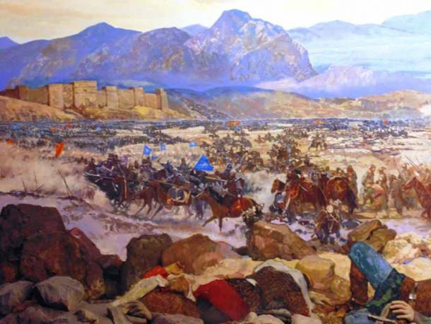 The Battle of Manzikert, fought between the Byzantine Empire and the Seljuk Empire on 26 August 1071 near Manzikert, was a decisive defeat for the Byzantine army and ended in the capture of Emperor Romanos IV Diogenes. (O.Mustafin / CC0 1.0)