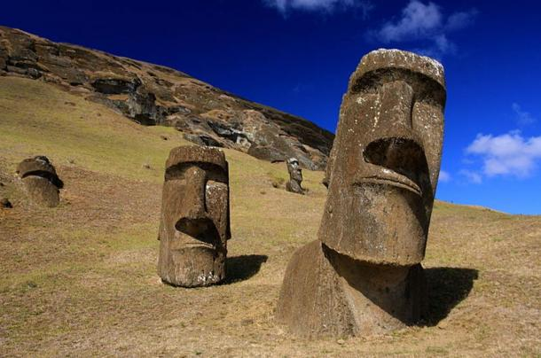 Maoi on Easter Island.