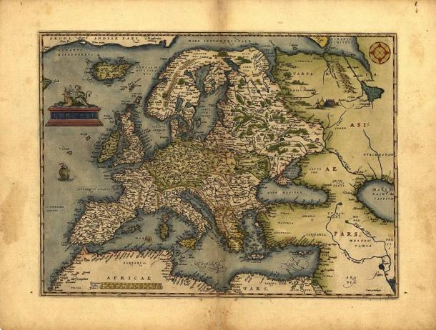 Map by Abraham Ortelius, Amsterdam 1572: at the top left Oceanvs Hyperborevs separates Iceland from Greenland.