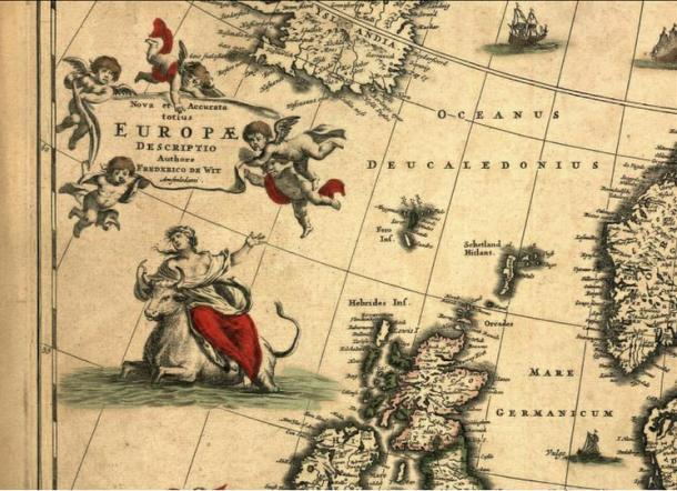 Map by Fredericus de Wit with a personification of Europa (Wikimedia Commons)