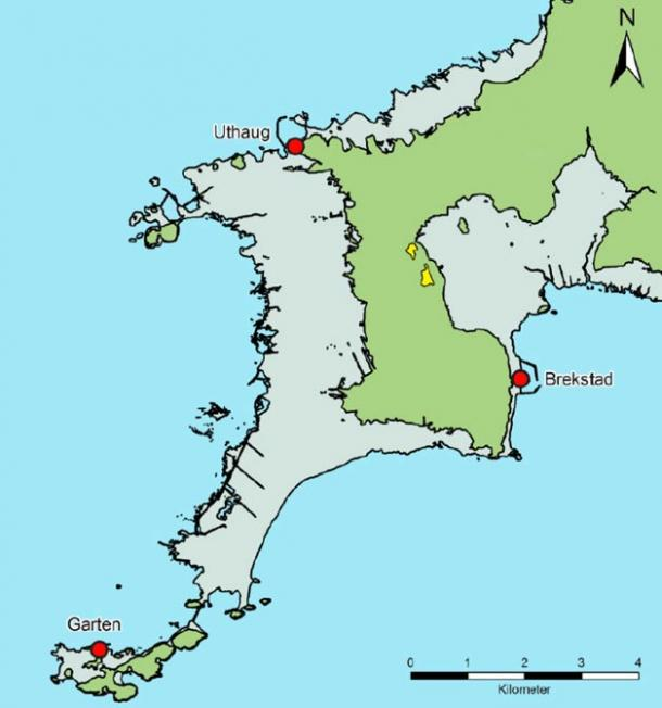 The area in yellow on the Trondheim Fjord is under excavation and was the site of a settlement 1,500 years ago. The area in green was dry land then.