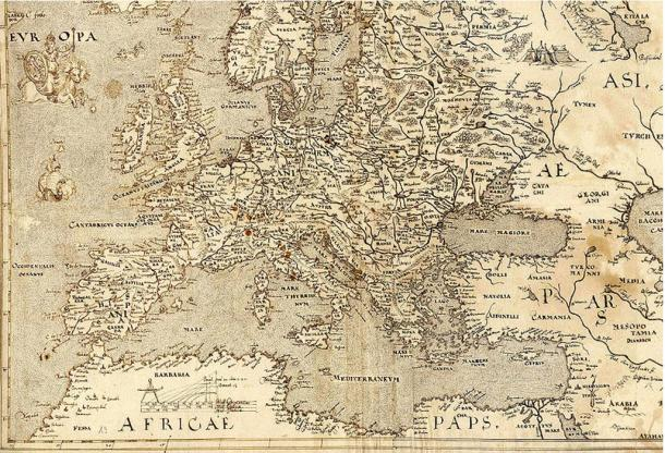 A Map of Europe from 1570 showing Hy-Brasil at another location (look beside the foot of the animal 'Europa' is riding)