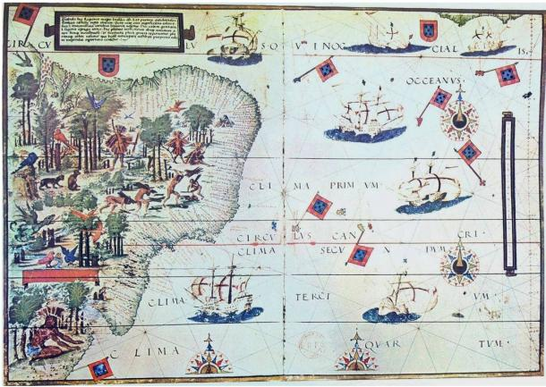 Map from the Miller Atlas (1519) showing the coast of Brazil and the mouth of the Río de la Plata.