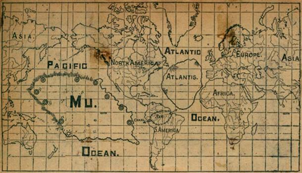 Map from undated newspaper clipping of one supposed position of the lost continent of Mu