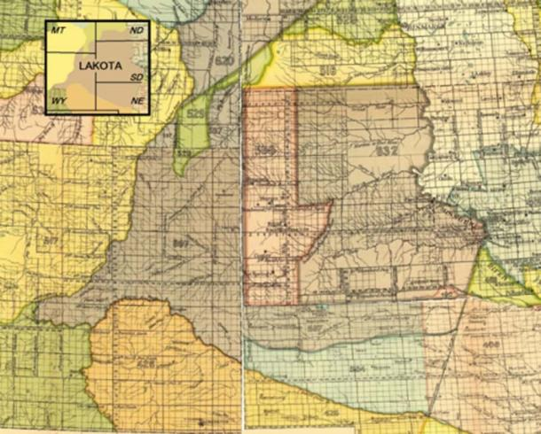 Map indicating the Lakota (Sioux) Indian territory as described in the Treaty of Fort Laramie (1851). (Public Domain)