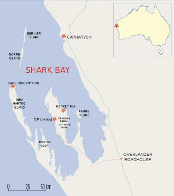 Map location of Dirk Hartog Island, (CC BY SA 2.0)