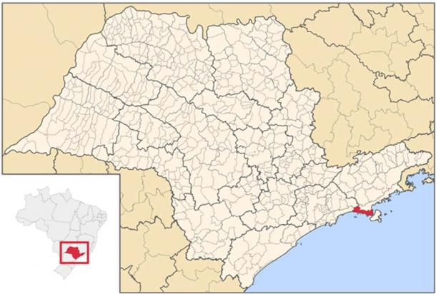Map locator of São Paulo's São Sebastião city, Brazil.