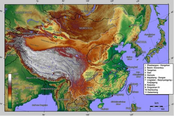 Map of the middle Neolithic cultures in China, including the Hongshan