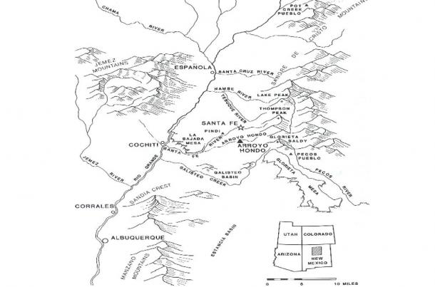 Map of Arroyo Hondo by the U.S. National Register of Historic Places.