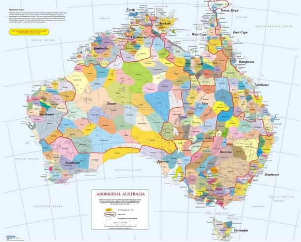 Map of Australia showing the distribution of different Aboriginal languages