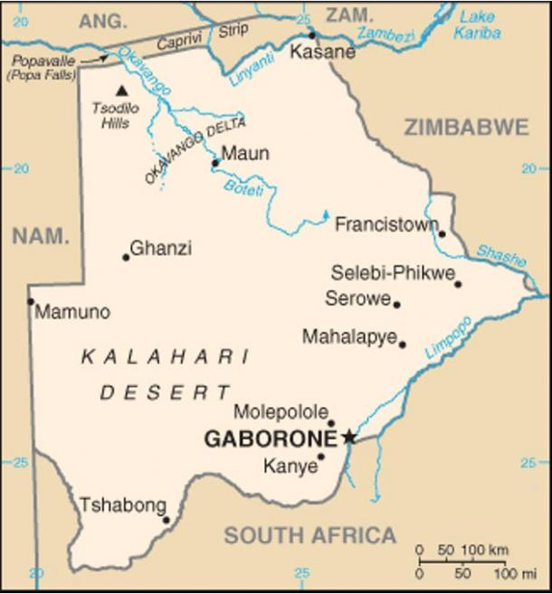 Map of Botswana.