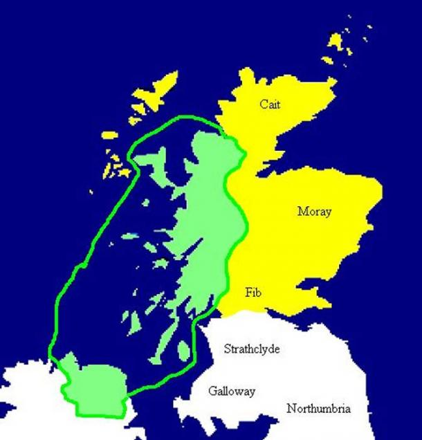 Map of Dál Riata at its height, c. 580–600. Pictish regions are marked in yellow.