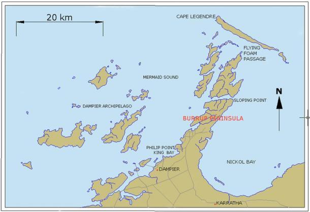 Map of Dampier Archipelago and Burrup Peninsula, Western Australia