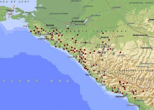 Map of Dolmens in Western Caucasus.
