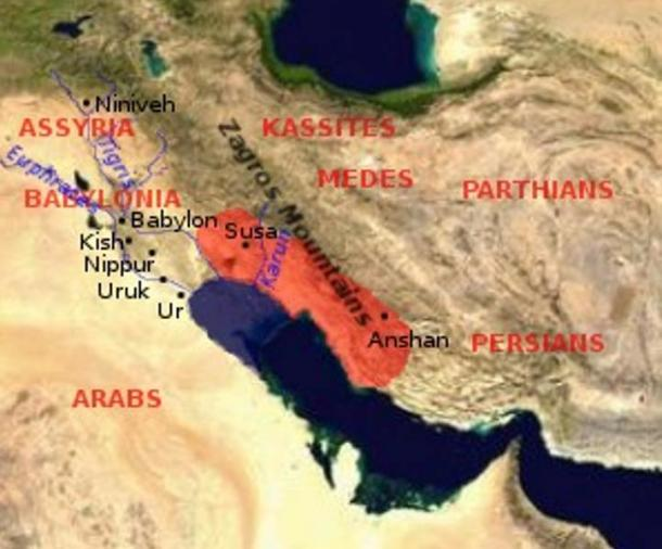 Map showing the extent of the Elamite Empire (present day Iran) in red. Heft Tappeh is 15 km to the south of Susa. The ancient city traded with their neighbors, especially Babylon.