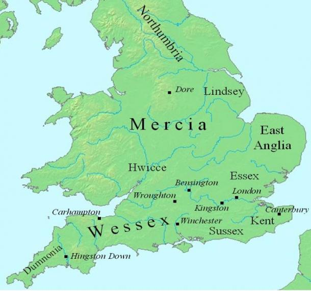 Map of England showing where Mercia was located in the 700-late 800's.