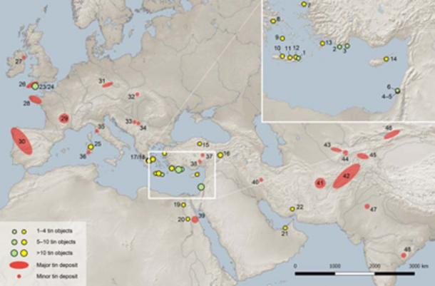 Map of Eurasia showing the locations of the tin ingots mentioned in the study (green dots), other tin objects in the eastern Mediterranean and the Near East before 1,000 BC (yellow dots), and major and minor tin deposits. (PLOS ONE)