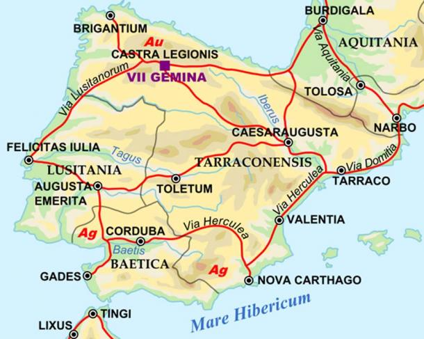 Map of Iberian Peninsula in 125 including important roads, legionnaire locations and gold/silver mines.