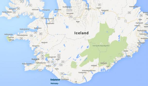 Map of Iceland showing the location of Seljaland in the South.