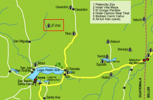 Map of Lake Petén Itzá, showing the location of El Zotz to the north, next to the famous site of Tikal