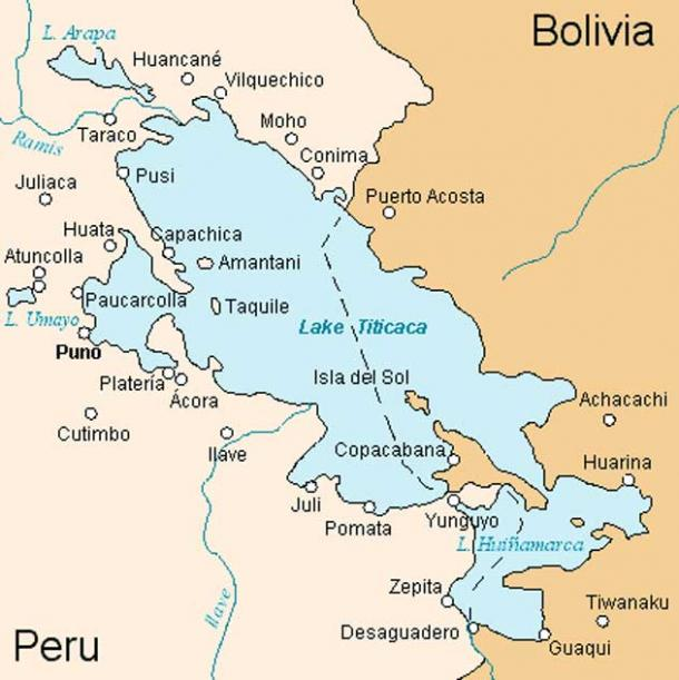 Map of Lake Titicaca with Tiwanaku at the bottom right. (Public Domain)