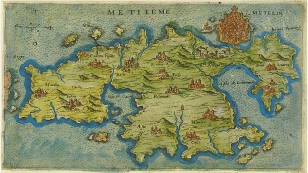 Map of Lesbos by Giacomo Franco (1597).