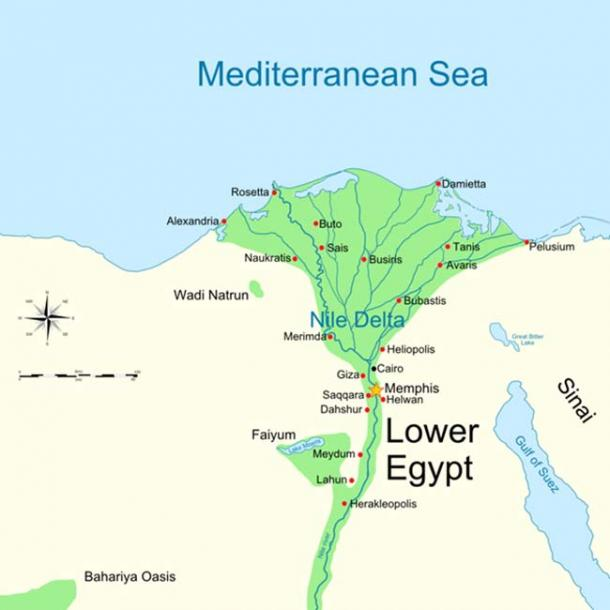 Map of Lower Egypt showing Tanis and Avaris, near Pi-Ramesses.