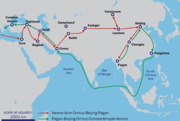 Map of Marco Polo's travels (Some of these places may not exist today)