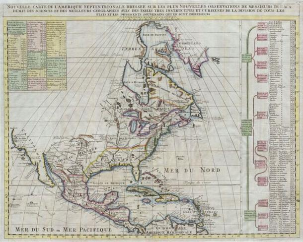 Map of North America published by Henry Chatelain for the 1720 edition of his seminal Atlas Historique.