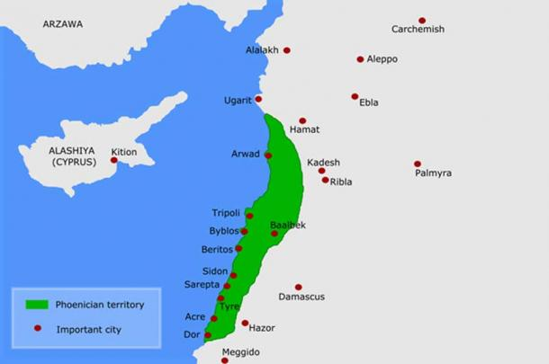 Map of Phoenicia- late Bronze Age (CC BY-SA 3.0)