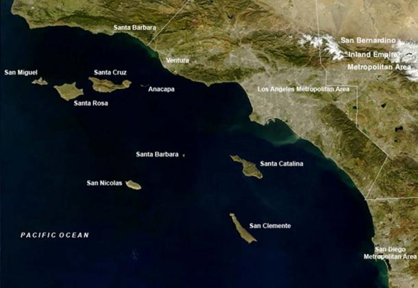 Map of Southern California — with the Channel Islands identified. (Public Domain)