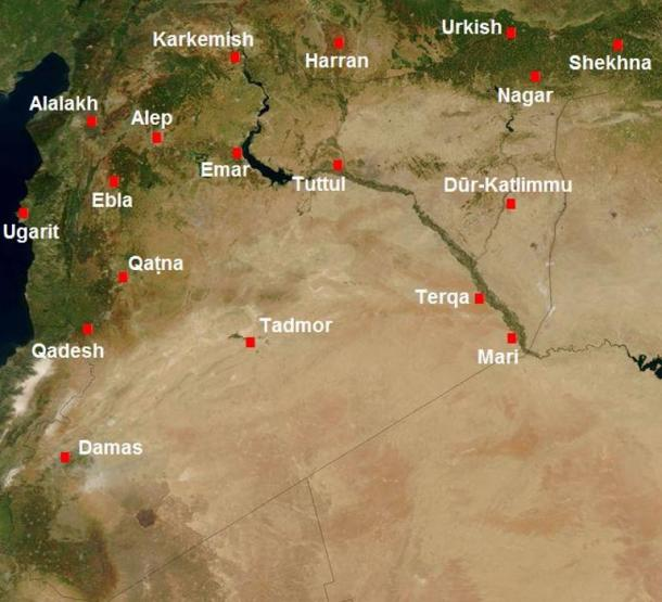 Map of Syria in the second millennium BC, showing the location of Karkemish