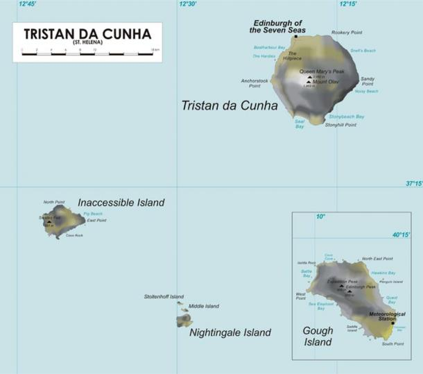 Map of Tristan da Cunha group of islands in the Southern Atlantic Ocean