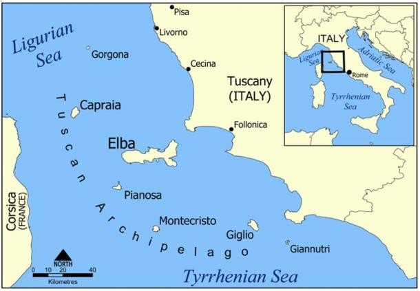 Map of Tuscan archipelago with Giannutri at the southernmost end.