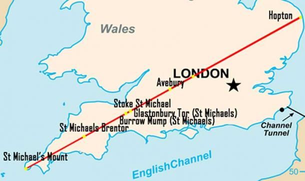Map of England/UK showing some points along the St Michael's Ley-line (Public Domain/Deriv)