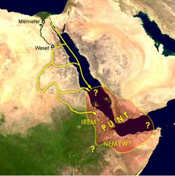 Map of a proposed location of Punt with trade routes from Egypt to Punt via rivers, wadis, and by sea. Mennefer is Memphis, Waset is Thebes and Irem and Nemyw are lands that supposedly border on Punt.