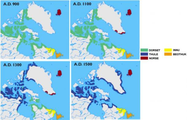 Map of cultures in Greenland, Labrador, Newfoundland, and the Canadian arctic from 900, 1100, 1300, and 1500 AD. Note how the Dorset culture was prominent in the early years and dramatically declined.