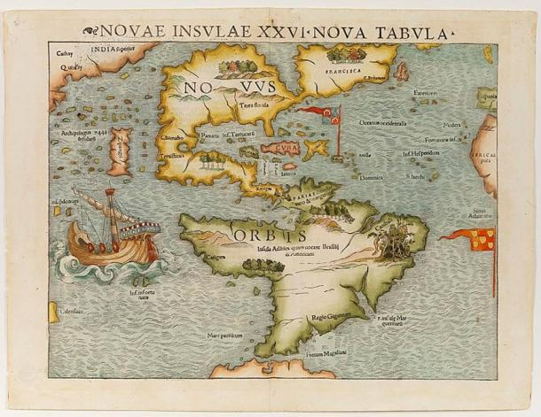 Map of showing North and South America, or the 'New World'. The map first appeared in Münster's Cosmographia in the 1540s.